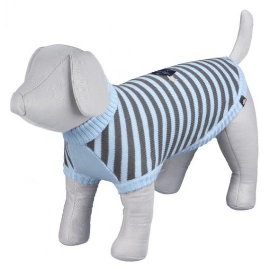 Dolomiti strik pullover blå/grå stribet.