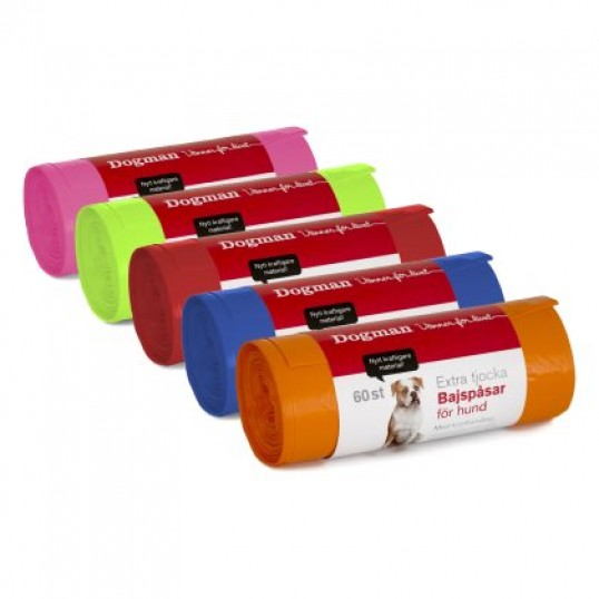 HømHømpose med knythåndtag. 1 rulle á 60 stk. ass. farver