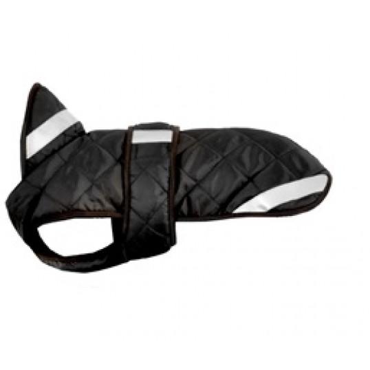 Hundedækken Quilt sort/brun med reflekser.