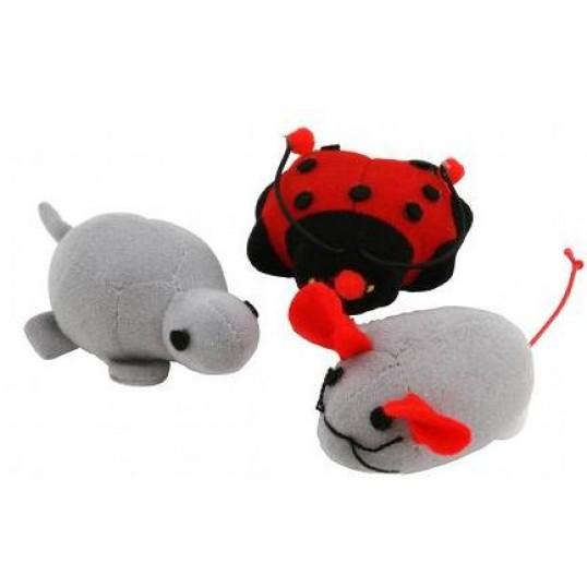 808-011 Kattelegetøj. Søde og sjove dyr med vibrator, når man trækker i snoren. 1 stk.