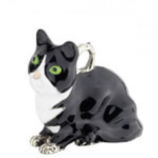 8289 Eksklusiv nøglering med Sort siddende kat. Måler ca. 10,5cm inkl. kæde med charms og selve nøgleringen.