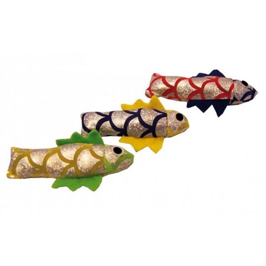 Bløde sølv fisk til katte. Måler 8 cm. Ass. farver