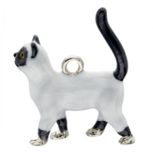 Eksklusiv nøglering med hvid/sort gående kat. Måler ca. 10,5cm inkl. kæde med charms og selve nøgleringen.