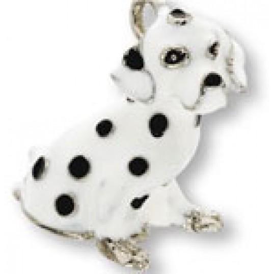 9226 Eksklusiv nøglering med Dalmatiner. Måler ca. 10,5cm inkl. kæde med charms og selve nøgleringen.