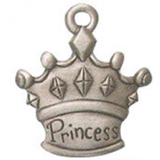 Vedhæng Krone med tekst: Princess, i sort/oxideret-look.