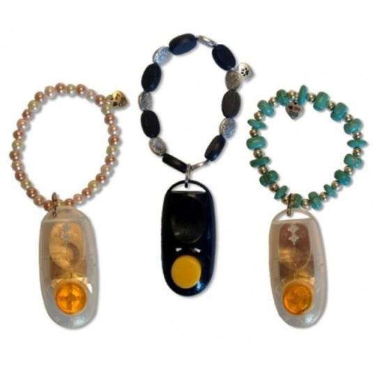 Bling-klikkerarmbånd - Flot håndlavet armbånd med integreret klikker. Designet af Karen Pryor.