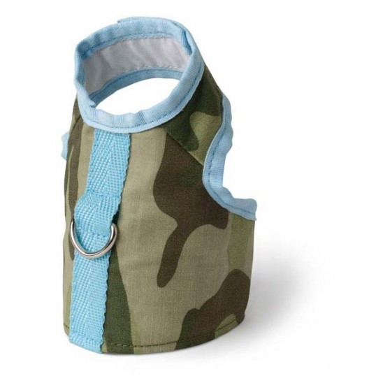 Doggles Sele/Vest, grøn-camo med lyseblå. Str. XXS. brystmål 25-38 cm.
