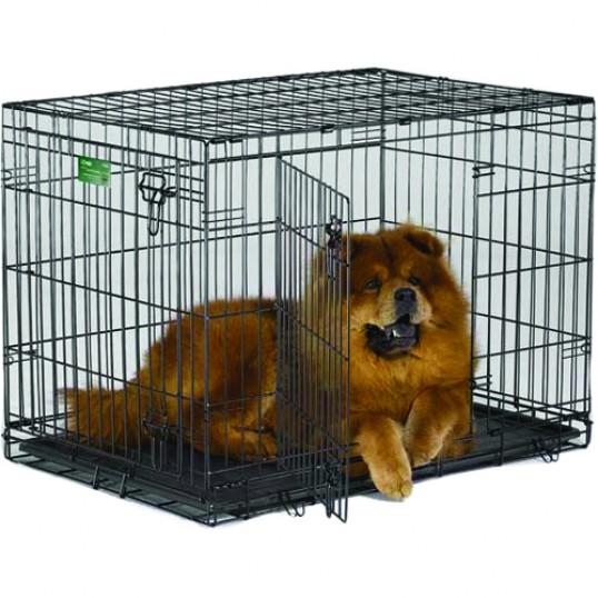 Hundebur DD ICRATE pulverlakeret bur m. plastbakke i bunden. sort.