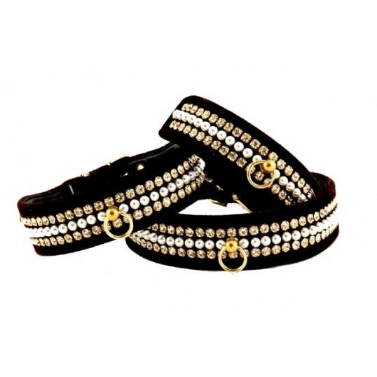 """Halsbånd Mini Perl, Tahoe i fløjl med perler og """"diamantsten"""""""