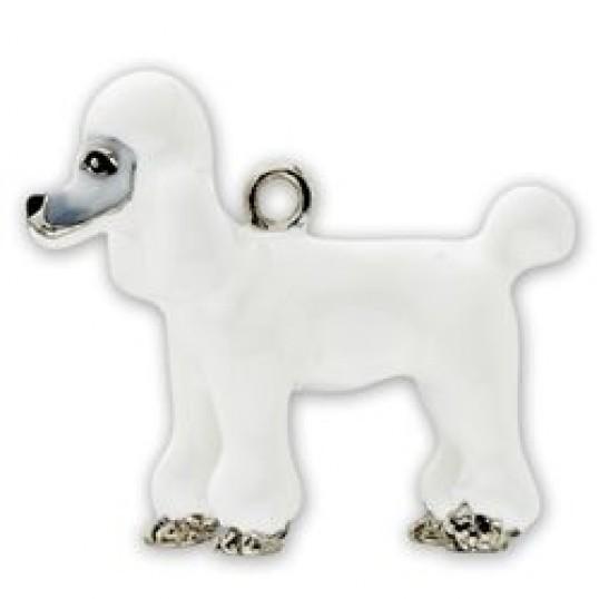 Eksklusiv nøglering med Hvid puddel. Måler ca. 10,5cm inkl. kæde med charms og selve nøgleringen.
