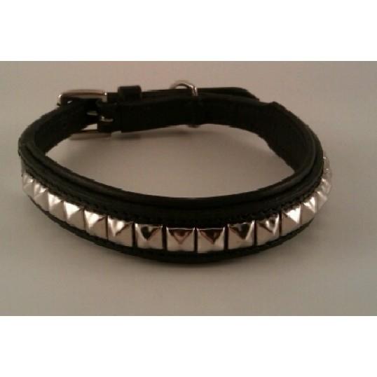 """2-cool Læder halsbånd """"Tetris-silver"""", sort med flotte firkantede beslag."""