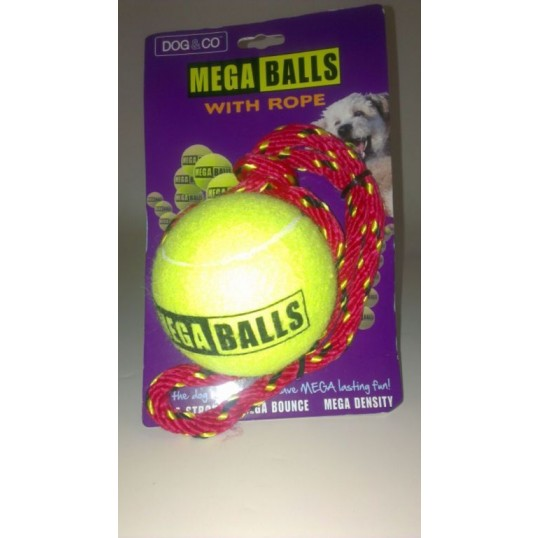 "Dog&co ""Mega Ball"". Gul bold med reb."