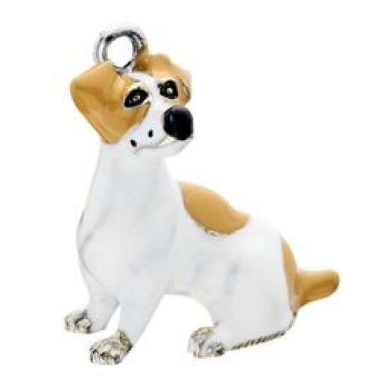 Eksklusiv nøglering med Jack russell terrier. Måler ca. 10,5cm inkl. kæde med charms og selve nøgleringen.