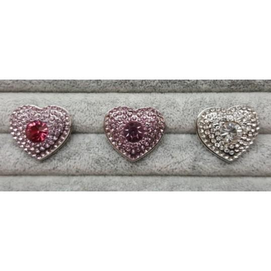 Hjerteformet Snapknap med facetslebet sten og zirkoner 1 stk