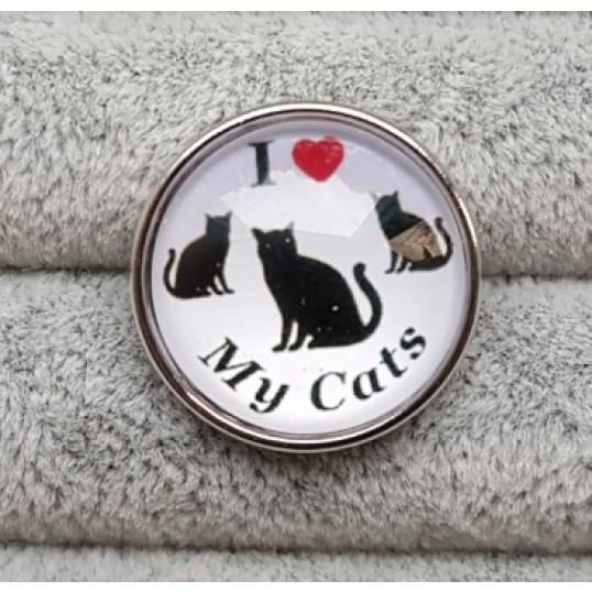 """1235 Snapknap """"I love my cat"""""""