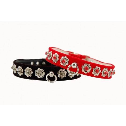 """Halsbånd Starlite i rød eller sort fløjl med """"sølvblomster"""" og sten."""