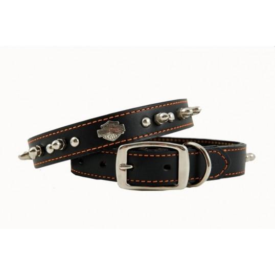 """Halsbånd """"Harley Davidson"""" læderhalsbånd dobbelt lag læder og stikninger. 75cm."""