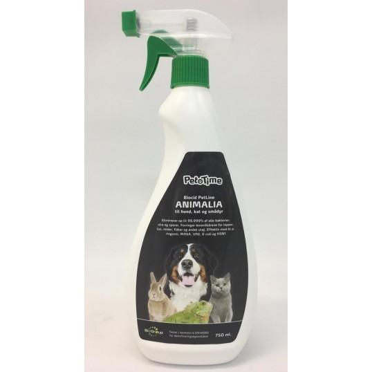 BioCid petline Animalia desinficeringsmiddel spray 750 ml. Til at bekæmpe lopper og lus' levevilkår. 5 % blanding.