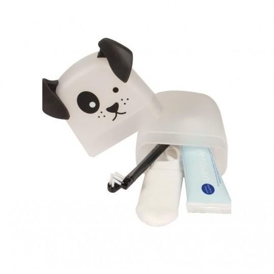 Petosan tandbørste sæt til din hvalp eller lille hund. Inkl. sødt etui
