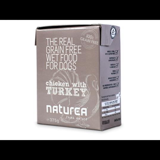 Naturea Naturals vådfoder i 375 g Tetrapac med kylling og kalkun, allergivenligt