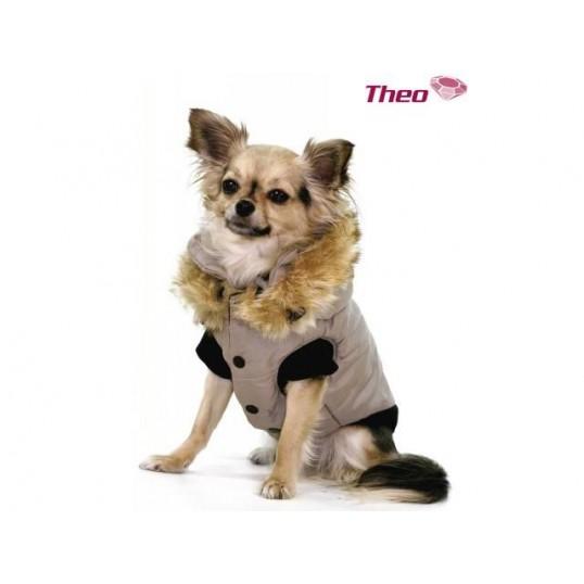 Theo Vest Beige farvet, med pels krave i imiteret pels.