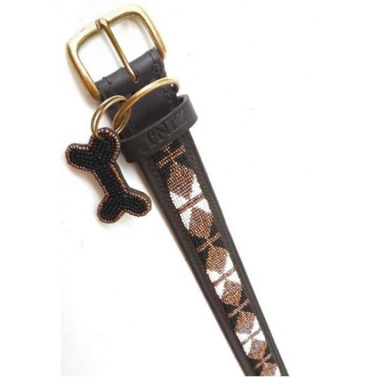 """""""Bajuni"""" eksklusivt håndlavet hundehalsbånd med brune, hvide og sorte perler"""