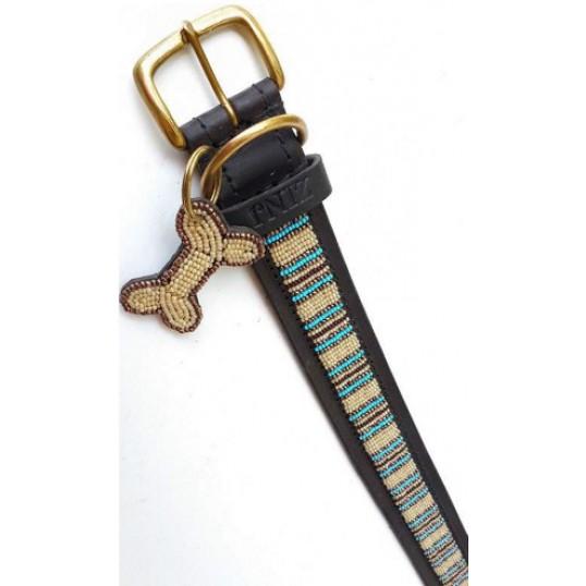 """""""Blue Nile"""" eksklusivt håndlavet hundehalsbånd med beige, brune og blå perler"""
