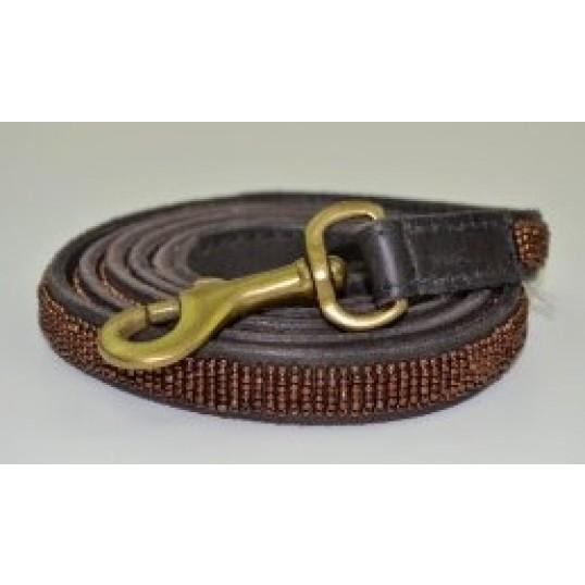 """""""Copper"""" eksklusiv håndlavet hundeline i med håndtag. Med kobberfarvede perler"""
