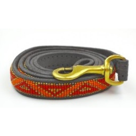 """""""Kabaka neon"""" eksklusiv håndlavet hundeline i med håndtag. Med orange perler"""