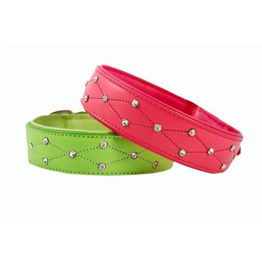 Læderhalsbånd 2-Cool Summertime ZigZag. i Pink eller Lime.