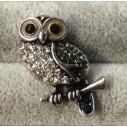 """""""Sølv"""" ugle-snapknap med brune øjne og med zirkoner 1 stk"""