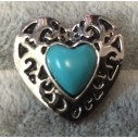 """Snapknap """"Sølv"""" hjerte med lyseblå sten"""