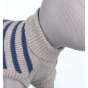 Milton strik pullover lysegrå/blå stribet.