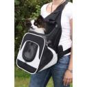 Fronttaske Savina til hund og kat. 30x33x26cm. op til 10kg. sort/grå.