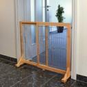 Hundegitter / Hunde barriere til hvalpe og små hunde. Af lakeret fyrretræ / galvaniseret gitter. Indstillelig i bredden