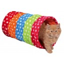 Legetunnel til katte i flerfarvet fleece. Måler ø 25 x 50 cm.
