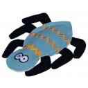 Kattelegetøj. Edderkop i læderlook/filt. Med catnip. Måler ca. 10 cm.