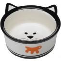 Hundeskål / katteskål i beige keramik