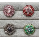 Snapknap med zirkoner i blomst eller stjernemønster 1 stk