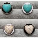 Snapknap med hjerteformet natursten 1 stk