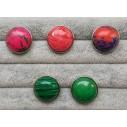 Snapknap med farvet sten med mønstre 1 stk