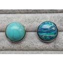 Snapknap med turkisfarvede sten med mønstre 1 stk