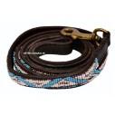 """Kabaka Sky"" eksklusiv håndlavet hundeline med håndtag. Med hvide og lyseblå perler"