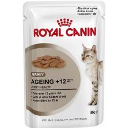 Royal Canin Ageing +12 Gravy. Tynde bidder i sovs. Vådfoder. Til katte over 12 år. 12 ps. á 85 g.