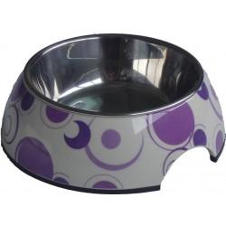 Melamin skål med stål-indsats. Med lilla cirkler.