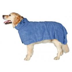 Hundens Badekåbe i blå mikrofiber.
