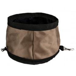 Foldbar rejsevandskål i nylon med karabinhage. 2,1L. Ass. farver