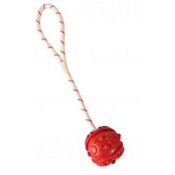 Naturgummi bold med potepræg og reb til langkast. Kan flyde.