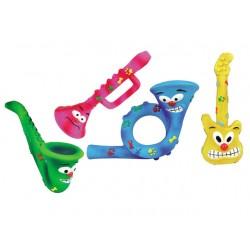 Musikinstrumenter i latex med lyd. 26 cm. 1. stk. Assorteret