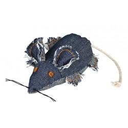 Kattelegetøj Blå Denim mus med catnip. 10 cm.